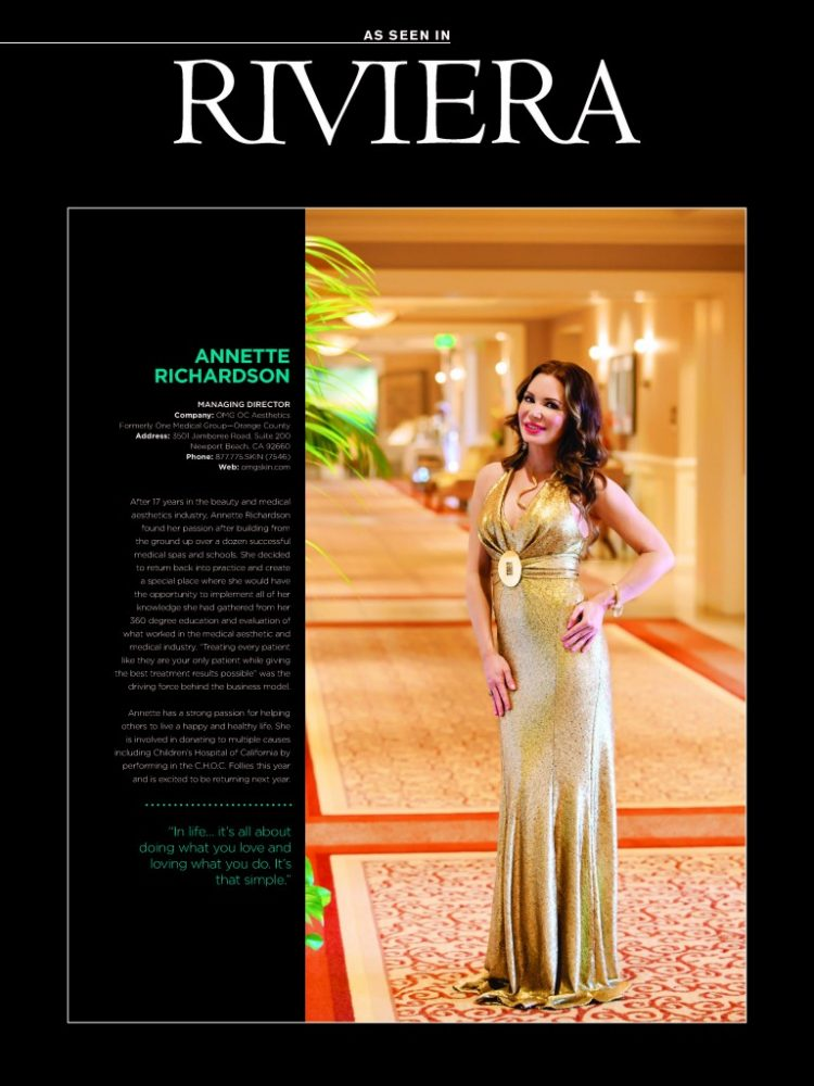 Annette Richardson Featured in Riviera Mag